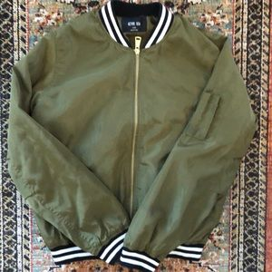 Military green bomber jacket